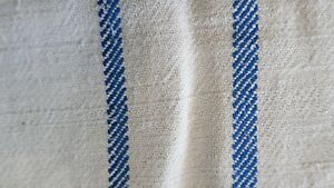 Antique European Hemp Grain Sack Gorgeous Blue Stripes