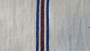 Antique European Hemp Grain Sack Beautiful Blue And Maroon Dark Red Stripes