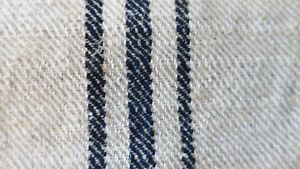 Antique European Hemp Grain Sack Gorgeous Navy And Black Stripes