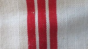 Antique European Hemp Grain Sack Gorgeous Bright Red Stripes