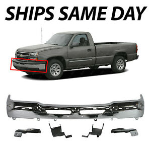 New Chrome Front Bumper For 2003 2007 Chevy Silverado 1500 2500 With Brackets
