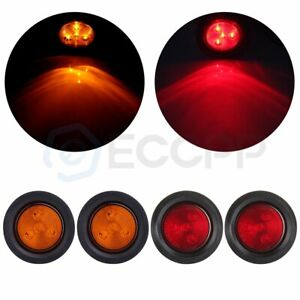 4x Amber Amber 2 5 Round 4 Led Truck Trailer Signal Side Marker Clearance Light