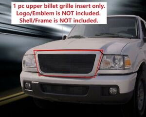 Fits 2006 2012 Ford Ranger Replacement Black Billet Grille Front Upper Grill