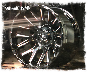 20 X12 Gloss Black Milled Vrock Vr10 Rims Fits Lifted Chevy 2500 3500 H2 8x6 5