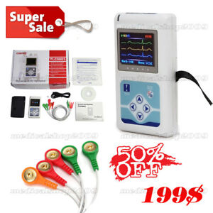 Dynamic Ecg System Tlc9803 Contec 3 Channels Holter Ecg 24hs Records Pc Sw