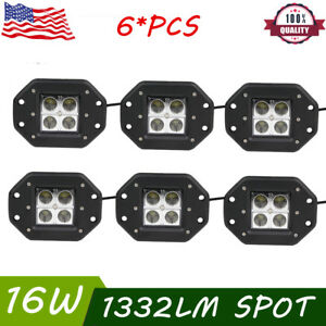 6x 5 inch 16w Led Work Lights Flush Mount Spot Pods For Jeep Boat Truck 4wd Suv