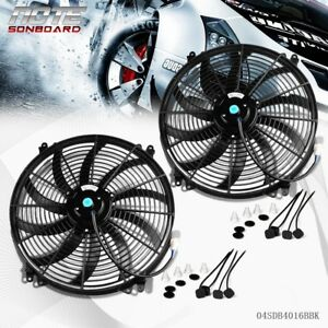 Us Cooling 2 X 16 Inch Universal Slim Fan Push Pull Electric Radiator 12v Mount