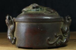 Chinese Exquisite Handmade Bronze Incense Burner Ming Xuande Mark
