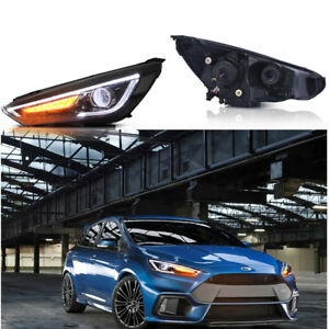 2pcs Headlight Head Led Drl Halo Projector Lamp Rh Lh For 2015 2017 Ford Focus