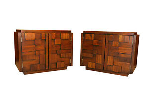 Mid Century Lane Paul Evans Inspired Brutalist Mosaic Nightstands Pair