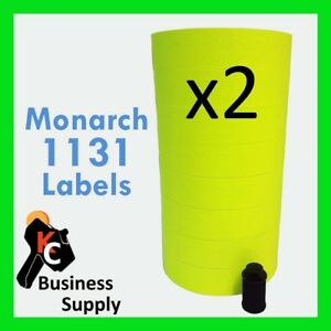 1131 Labels For Monarch Price Gun Chartreuse bright Yellow 2 Sleeves 16 Rolls