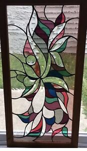 Vintage Victorian Design Window Panel 17 W X 32 L Tiffany Style Stained Glass