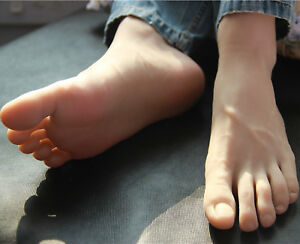 Full Silicone Male Silicone Fake Feet Model mannequin Shoes Size 44 A586