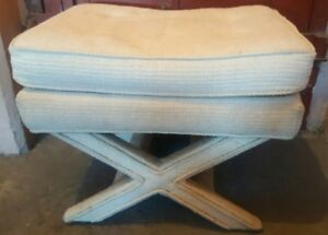Mid Century Hollywood Regency X Base Ottoman Stool