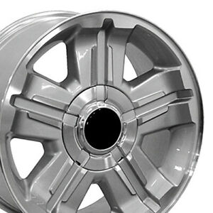 18x8 Rims Fit Gm Chevy Truck Z71 Style Silver Mach D Wheel 5300 Set Of 4