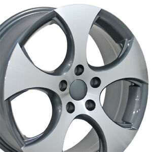 17 Rims Fit Volkswagen Vw Gti Jetta Eos Cc Passat Gunmetal Machd Wheels Set