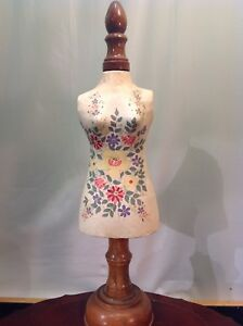 Vtg Folk Art Seamstress Or Taylor Shop Mannequin Torso Decoration 21