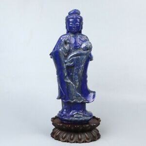 Chinese Exquisite Hand Carved Guanyin Carving Lapis Lazuli Statue