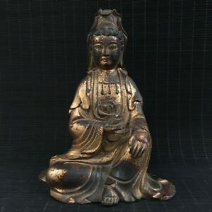 9 China Antique Bronze Gilt Handmade Arya Avalokiteshvara Buddha Statue