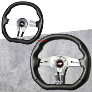 350mm Steering Wheel Universal Silver Suede Leather Momo Style Horn