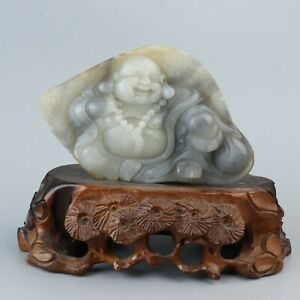 China Exquisite Hand Carved Maitreya Buddha Carving Nephrite Hetian Jade Statue