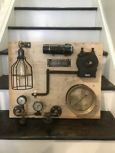 Steampunk Unfinished Lamp Project Antique Vtg American Gauge Brass Iron Parts