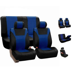 Faux Leather Car Seat Covers For Auto Car Sporty Blue Black
