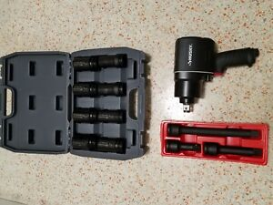 Husky 3 4 Air Impact Wrench With Ingersoll Rand Sae Deep Socket Set W Extensions