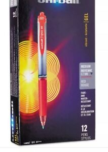 Uni ball 72 Retractable Gel Pen Medium Point Red Ink New Free Shipping