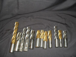 Lot Of 12 Hss Steel End Mills