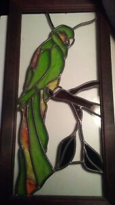 Vintage Stained Glass Parrot 25 Window Pane Wood Frame Architectural Bird Art