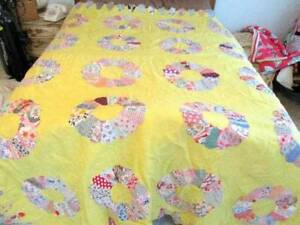 Antique Hand Stitched Yellow Dresden Plate Quilt Top W Extending Flaps