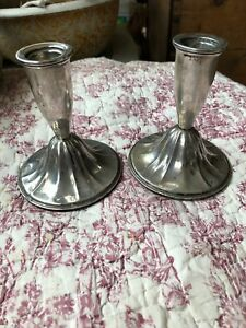 Vintage Pair Of Poole Sterling Silver Candlesticks 4 25