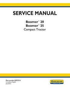 New Holland Boomer 20 Boomer 25 Tractor Service Manual