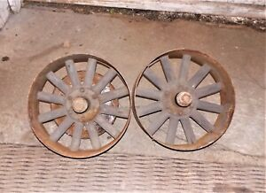 Antique Small Implement Wheels W Steel Rims Wood Spokes Steering Arms Tractor