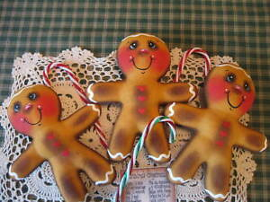 Primitive Christmas Gingerbread Bowl Fillers Ornies Doll Shelf Sitters