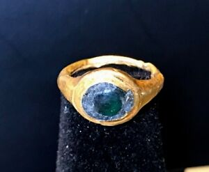 Ancient Roman Gold Ring With Green Glass Stone Charming Piece
