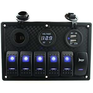 6 Gang Rocker Switch And Horn Switch Panel With Dual Usb Voltmeter Power Decal