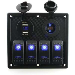 4 Gang Rocker Switch Panel With 4 2a Dual Usb Voltmeter Power Socket Decal For