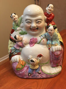Xl Vtg Porcelain Fertility Buddha With Climbing Children 12 H 9 Lb