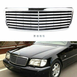 For Mercedes Benz W140 S Class 1994 1999 Black Chrome Front Bumper Grill Grille