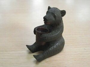 Beautiful Antique Black Forest Bear Thimble Holder