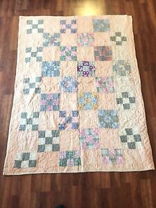 Vintage 1930s Handmade Hand Stitched 9 Patch Child Size Quilt Nice Fabrics