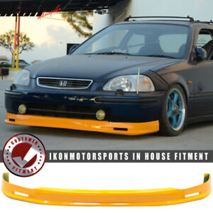 Fits 96 98 Honda Civic Ek 2dr 3dr 4dr Mugen Pu Front Bumper Lip Painted Orange