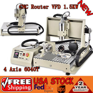 Cnc Router 1 5kw Vfd 4 Axis 6040 Engraver Mill Drilling Machine 3d Cut Spindle