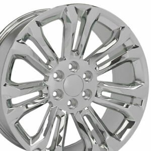 22 Rims Fit Gm Chevy Sierra Silverado Chrome Wheels 5666