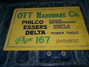 Baraboo Wi Vintage Sign Ott Hardware Co Phone 167
