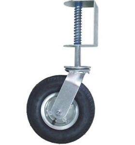 Gate Caster Hardware 8 inch Spring Loaded Swivel Semi Pnuematic Wheel