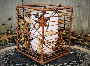 Rustic Primitive Decor Rusty Wire Timer Candle Holder With Pip Berries