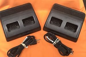 Lot Of 2 Relm Charger Model bcmp Mini com Uhf Fm Handle Radio